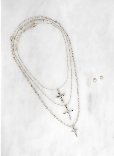 Layered Chain Charm Necklace with Ball Stud Earrings,SILVER,large