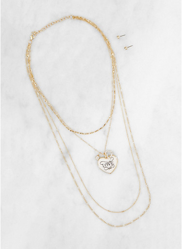 Love Charm Necklace with Stud Earrings Set,GOLD,large