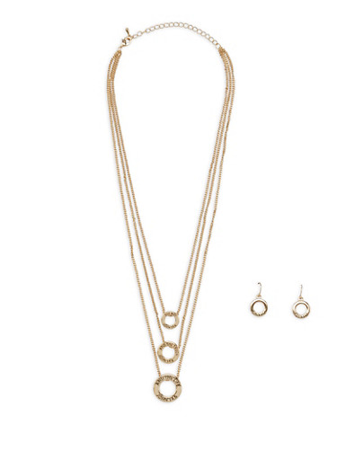 Layered Charm Necklace with Earrings Set - 3123074468265