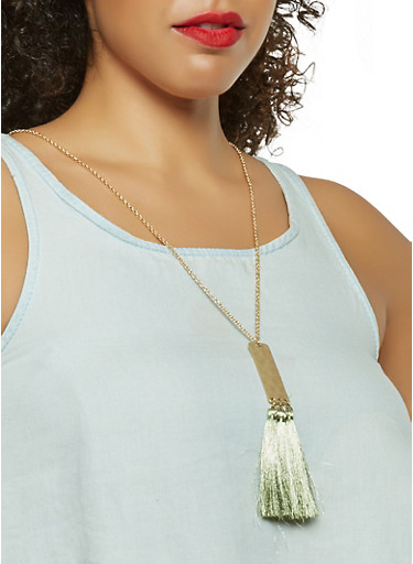 Metallic Tassel Necklace with Earrings Set | Tuggl