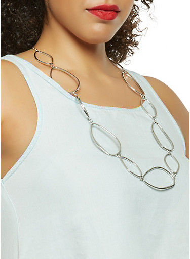 Metallic Oval Linked Necklace with Earrings | Tuggl