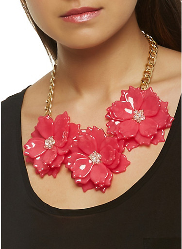 Flower Statement Necklace with Stud Earrings Set,FUCHSIA,large