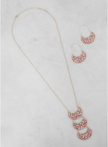 Jewel Encrusted Half Moon Earrings and Necklace,BLUSH,large