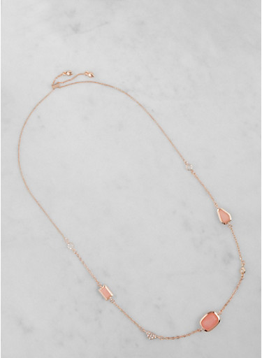 Long Chain Charm Necklace,ROSE,large