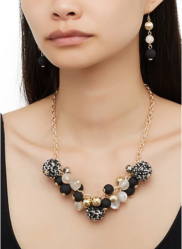Beaded Cluster Necklace with Drop Earrings,BLACK,large