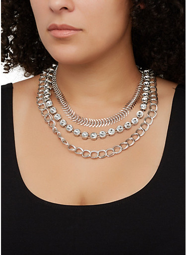 Tri Layered Necklace and Hoop Earrings Set,SILVER,large