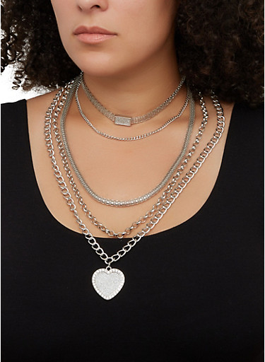 Heart Pendant Layered Necklace with Stud Earrings,SILVER,large