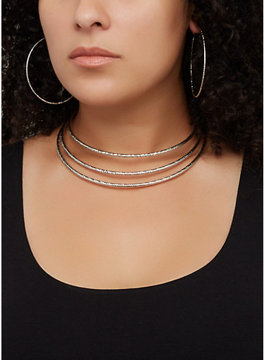 Coil Collar Necklace and Cuff with Hoop Earrings,SILVER,large