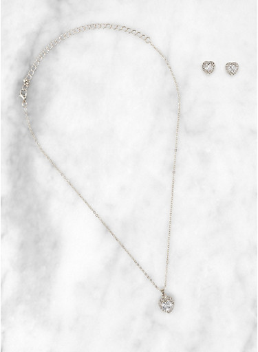 Heart Halo Rhinestone Necklace and Earrings,SILVER,large