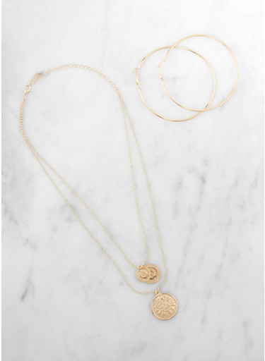 Layered Coin Charm Necklace with Hoop Earrings,GOLD,large