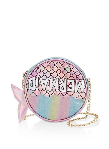 Glitter Mermaid Round Crossbody Bag,FUCHSIA,large