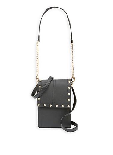 Rhinestone Studded Crossbody Bag,BLACK,large