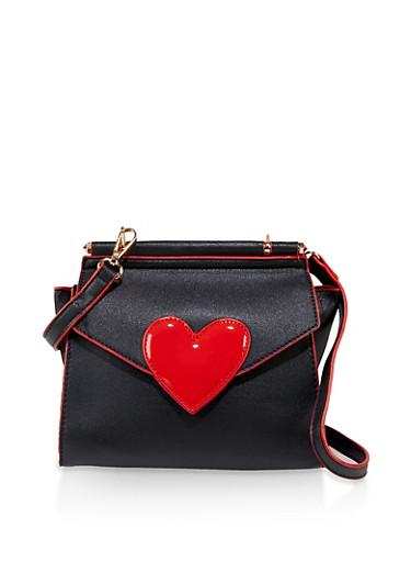 Heart Detail Crossbody Bag   Black,BLACK,large