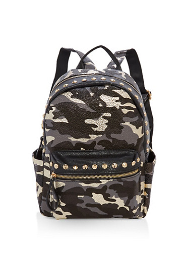 Studded Camo Print Backpack | Tuggl