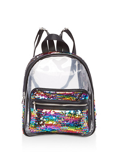 Rainbow Sequined Clear Backpack,MULTI COLOR,large