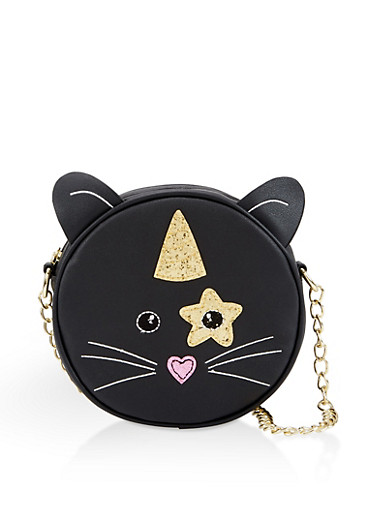 Glitter Caticorn Round Crossbody Bag,BLACK,large