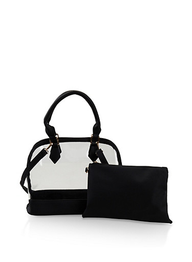 Clear Bowler Bag with Cosmetic Pouch,BLACK,large