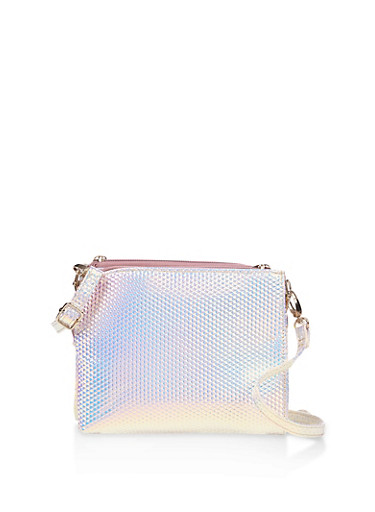 Iridescent Double Zip Crossbody Bag,SILVER,large