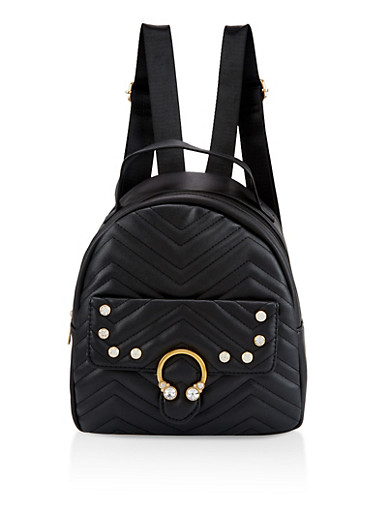 Rhinestone Quilted Backpack,BLACK,large