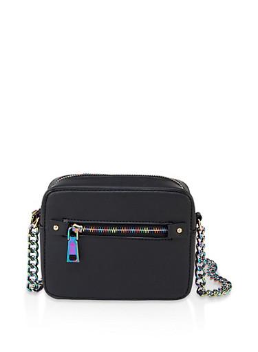Rainbow Chain Strap and Zipper Crossbody Bag,BLACK,large