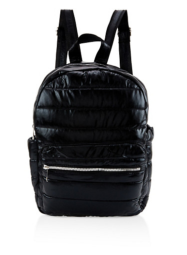 Iridescent Puffer Backpack,BLACK,large