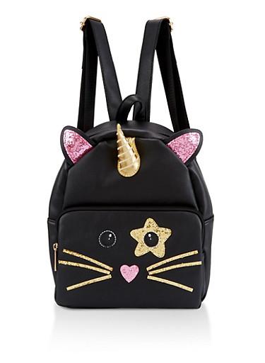 Caticorn Glitter Backpack,BLACK,large