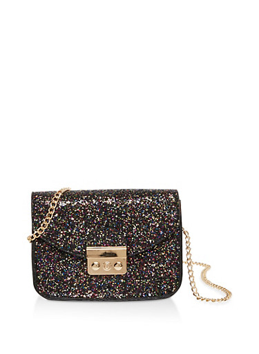 Glitter Chain Crossbody Satchel,BLACK,large