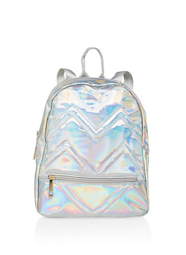 Holographic Faux Leather Backpack,SILVER,large