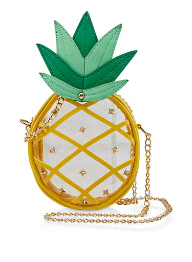 Clear Studded Pineapple Crossbody Bag,YELLOW,large