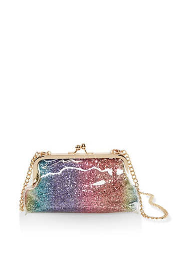 Glitter Kiss Lock Crossbody Bag,MULTI COLOR,large