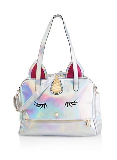 Unicorn Holographic Travel Bag,SILVER,large