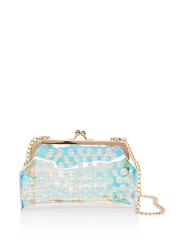 Faux Pearl Studded Iridescent Clutch,MULTI COLOR,large