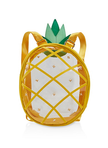 Clear Studded Pineapple Backpack,YELLOW,large