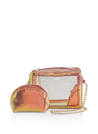 Iridescent Trim Clear Crossbody Bag with Cosmetic Pouch,CLEAR,large