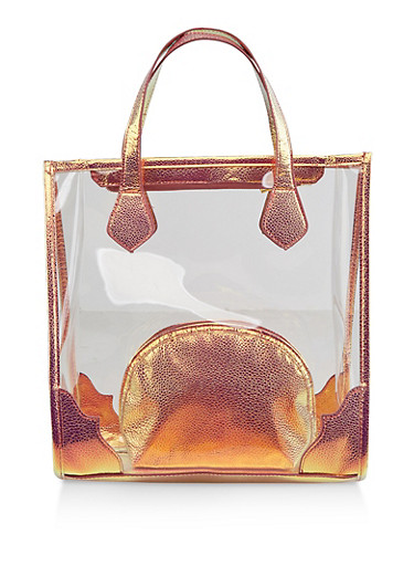 Clear Tote Bag with Cosmetic Pouch,CLEAR,large