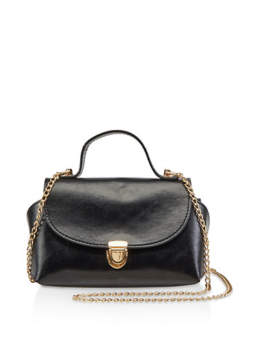 Mini Chain Crossbody Satchel,BLACK,large