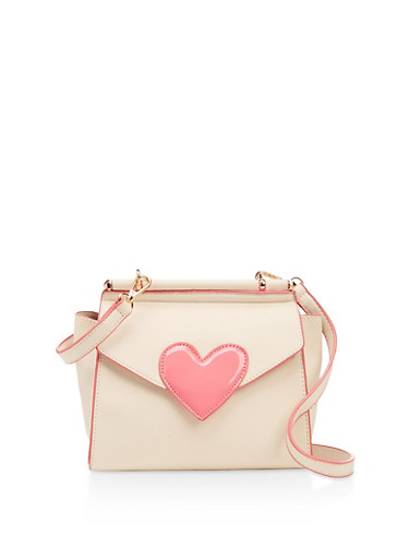 Heart Detail Crossbody Bag,BEIGE,large