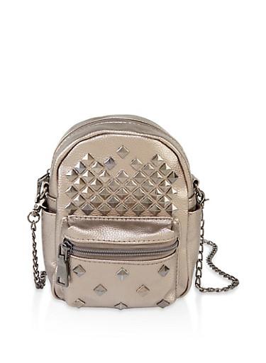 Metallic Studded Crossbody Bag,GRAY,large