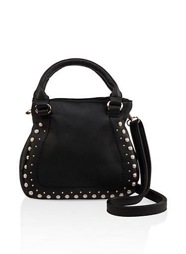 Faux Pearl Mini Handbag,BLACK,large