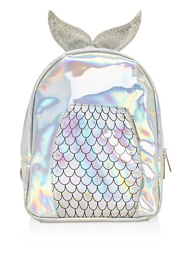 Holographic Mermaid Backpack,SILVER,large