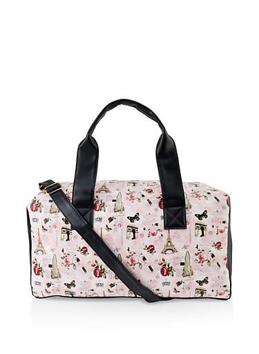 Paris Print Duffel Bag,PINK,large