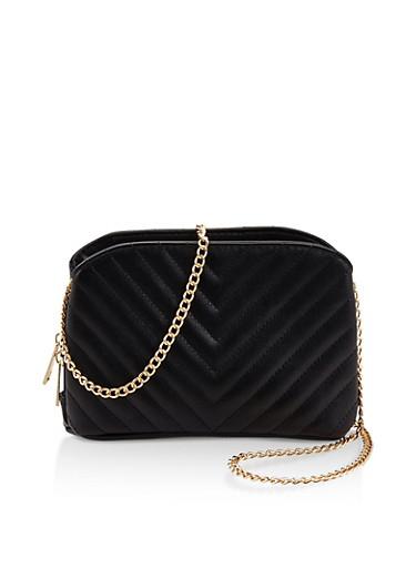Chevron Stitch Quilted Crossbody Bag,BLACK,large