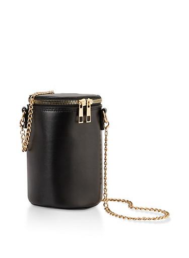 Chain Strap Cylinder Bag,BLACK,large