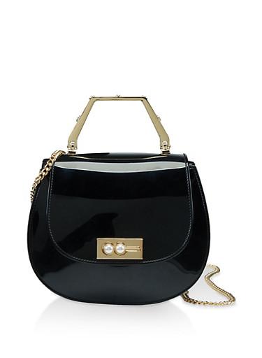 Chain Strap Jelly Saddle Bag,BLACK,large
