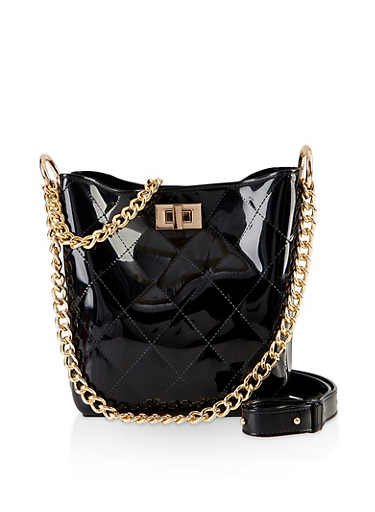 Quilted Jelly Bucket Bag,BLACK,large