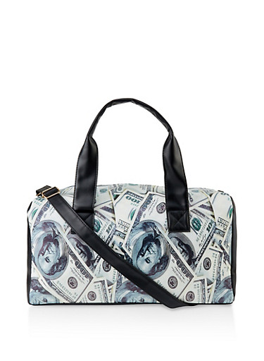 Dollar Bill Print Duffel Bag,GREEN,large