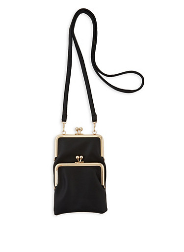 Double Kiss Lock Crossbody Bag,BLACK,large