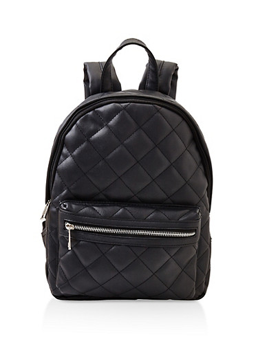 Quilted Backpack,BLACK,large