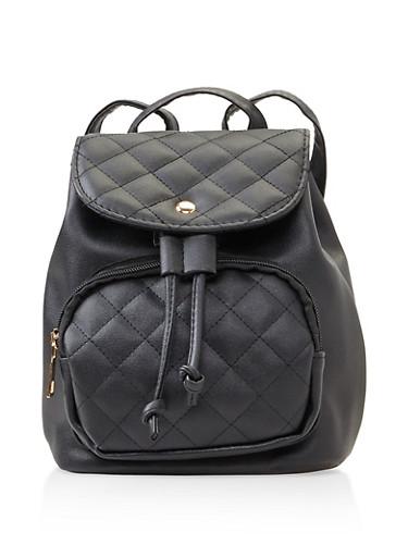 Mini Backpack,BLACK,large