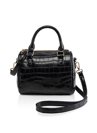 Faux Croc Leather Crossbody Bowler Bag,BLACK,large